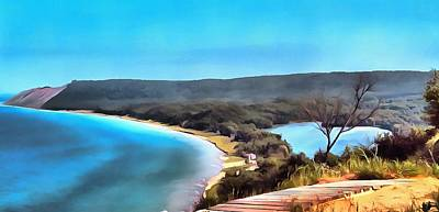 Tourist Attraction Digital Art - Sleeping Bear Dunes Panorama Painting by Dan Sproul