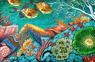 Mermaid Painting - Sleeping Beauty Mermaid by Debbie Chamberlin