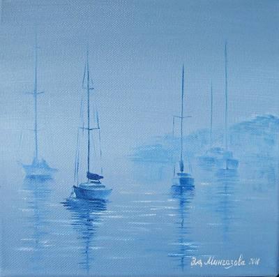 Oil Painting - Sleeping Boats by Eleonora Mingazova