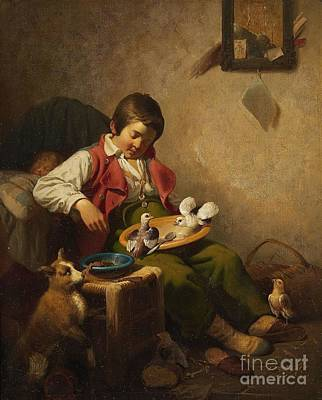 Sleeping Boy With Pidgeons And Dog Print by Celestial Images