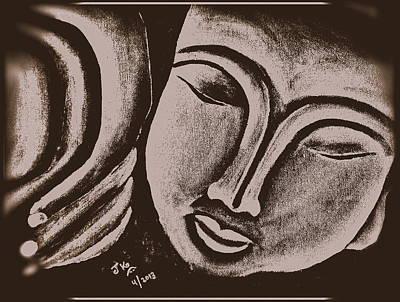 Sleeping Buddha Brownish Print by Jagjeet Kaur