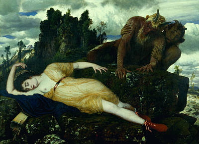 Sleeping Diana Watched By Two Fauns Print by Arnold Bocklin