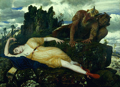 Arnold Boecklin Painting - Sleeping Diana Watched By Two Fauns by Arnold Boecklin
