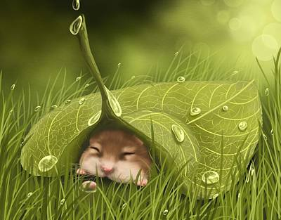 Digital Painting - Sleeping In The Rain by Veronica Minozzi