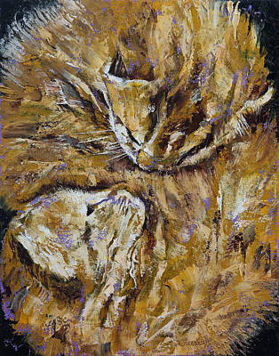 Impressionistic Oil Painting - Sleeping Kittens by Michael Creese