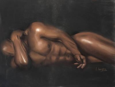 Fine American Art Pastel - Sleeping Nude by L Cooper