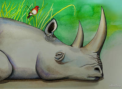 Childrens Book Illustration Painting - Sleeping Rino by Robert Lacy