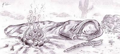 Sleeping Warrior Print by RJ Roskom