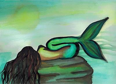 Sleepy Mermaid Print by Kayla Roeber