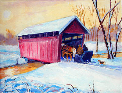 Covered-bridge Painting - Sleigh Ride - Pembroke Welsh Corgi by Lyn Cook