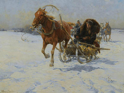 Polish Painters Painting - Sleigh Ride by Alfred Kowalski