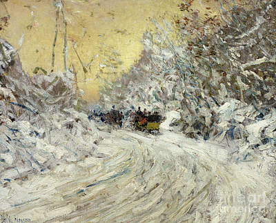Ride Painting - Sleigh Ride In Central Park by Childe Hassam