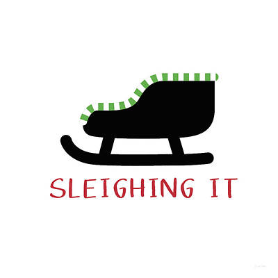 Sleighing It- Art By Linda Woods Print by Linda Woods