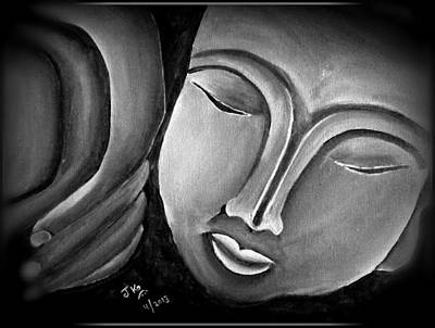 Sleping Buddha Black Print by Jagjeet Kaur