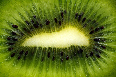 Slice Of Juicy Green Kiwi Fruit Print by Tracie Kaska