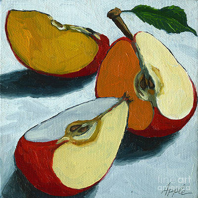 Red Fruit Painting - Sliced Apple Still Life Oil Painting by Linda Apple