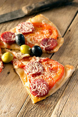 Slices Of Homemade Pizza With Salami Print by Vadim Goodwill