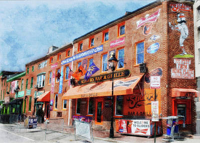 Camden Yards Drawing - Sliders Bar And Grille, Baltimore, Md.  by Chet Dembeck