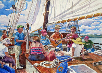 Sloop Clearwater With Musicians Original by Mira Fink