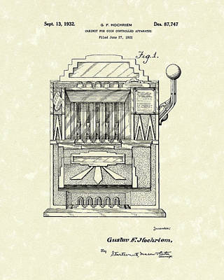 Coins Drawing - Slot Machine 1932 Patent Art by Prior Art Design