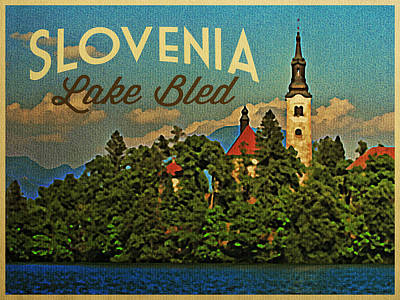 Castle Digital Art - Slovenia Lake Bled by Flo Karp