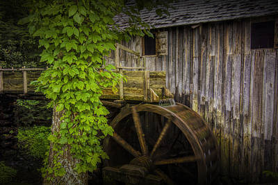 Sluice And Waterwheel At The Old John Cable Grist Mill Print by Randall Nyhof