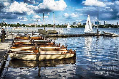 Small Boats Of Alster Print by George Oze