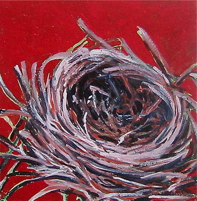 Painting - Small Nest On Red by Tilly Strauss