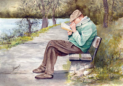 Park Benches Painting - Small Print by Sam Sidders