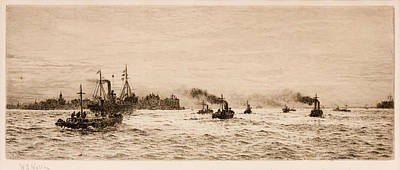Small Ships Leaving Print by William Lionel