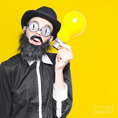 Smart Man With Big Creative Idea On Yellow Copyspace Print by Jorgo Photography - Wall Art Gallery