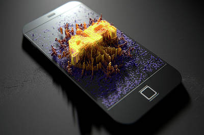 Smart Phone Emanating Augmented Reality Print by Allan Swart