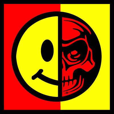 Smiley Face Skull Yellow Red Border Print by Tony Rubino