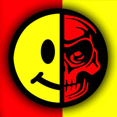 Smiley Face Skull Yellow Red Shadow Print by Tony Rubino