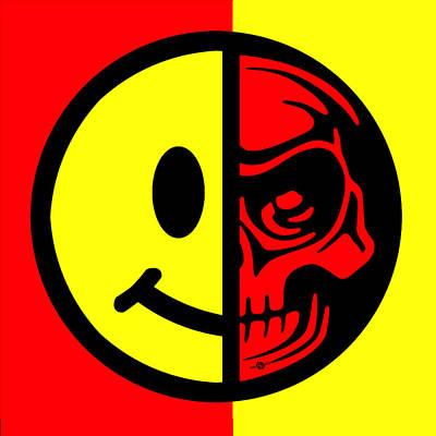 Smiley Face Skull Yellow Red Print by Tony Rubino