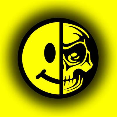 Smiley Face Skull Yellow Shadow Print by Tony Rubino