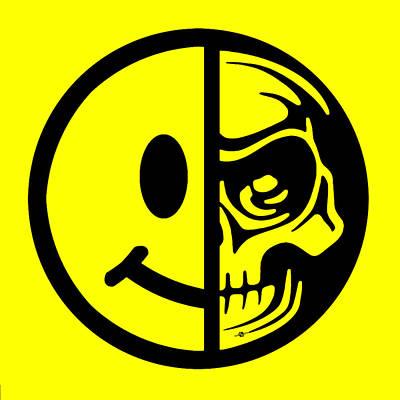 Smiley Face Skull Yellow Print by Tony Rubino