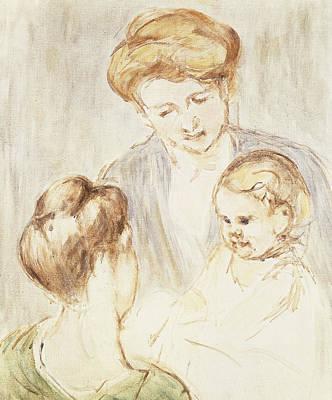 Smiling Baby With Two Girls Print by Mary Stevenson Cassatt