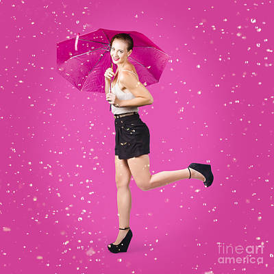 Smiling Female Model Dancing In Falling Rain Print by Jorgo Photography - Wall Art Gallery