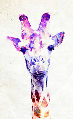 Collectible Mixed Media - Smiling Giraffe by Stacey Chiew