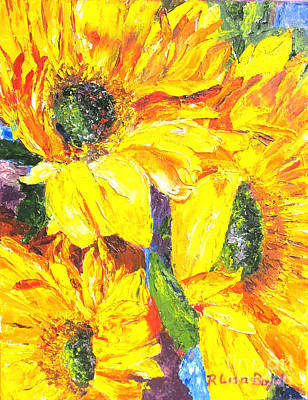 Smiling Sunflowers By Pallet Knife Print by Lisa Boyd