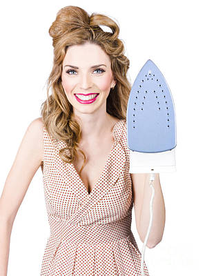 Smiling Woman With Iron. Hot Cleaning Specials Print by Jorgo Photography - Wall Art Gallery