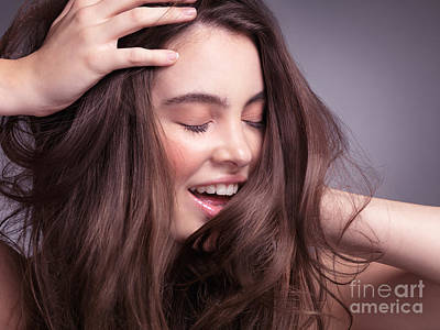 Hand Photograph - Smiling Young Woman With Long Brown Hair by Oleksiy Maksymenko