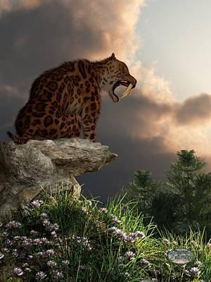 Ice Age Digital Art - Smilodon Californicus Lookout by Daniel Eskridge