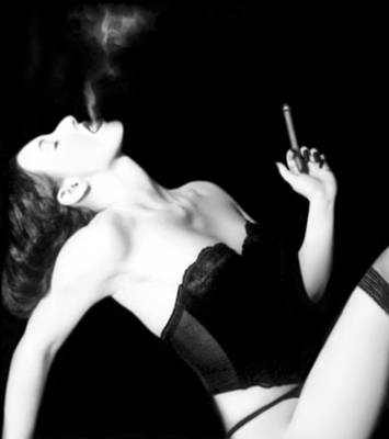 Black And White Photograph - Smoke And Seduction - Self Portrait by Jaeda DeWalt