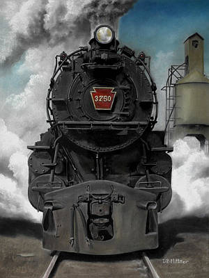 Train Painting - Smoke And Steam by David Mittner