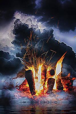 Lab Digital Art - Smoke On The Water And Fire In The Sky by John Haldane