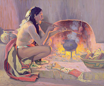 Indigenous Painting - Smoking Pipe by Eanger Irving Couse