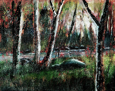 Pallet Knife Drawing - Smoky Mountain Dawn by Barry Jones