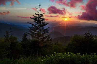 Smoky Mountain Sunset Print by Christopher Mobley